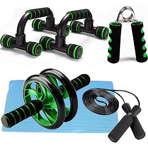 Kit 5 en 1 de rodillo AB Roller Pro con barra push-up, cuerda de saltar y rodillera – perfecto para abdominales – Entrenamiento de gimnasio en casa (verde)