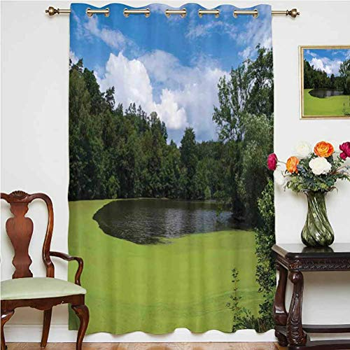 Lake House Decor Blackout Patio Door Curtains Pond Full of Alga in North European Countryside Odd Magical Nature Themes Print Grommets Panels Printed Curtains ,Single Panel 63x84 inch,for Glass Door