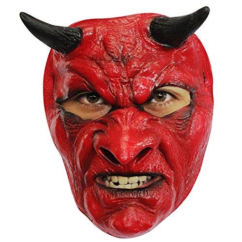AEC - MAHAL634 - Masque diable en latex rouge adulte