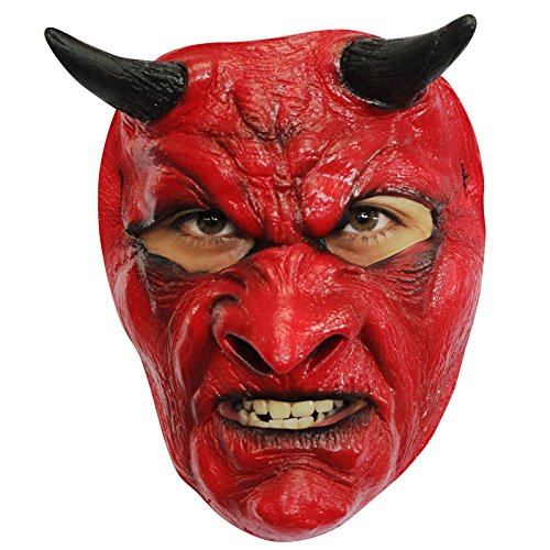 AEC - MAHAL634 - Masque diable en latex rouge adulte