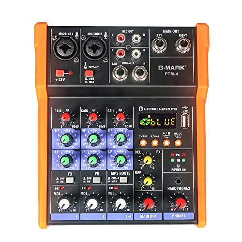 G-MARK - Mesa de mezclas (4 canales, USB, Bluetooth,...