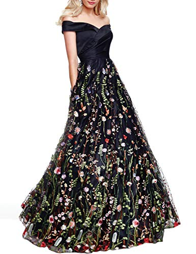 YSMei Women's Off Shoulder Long Evening Dress Floral Tulle Party Gown Satin top-Black 8