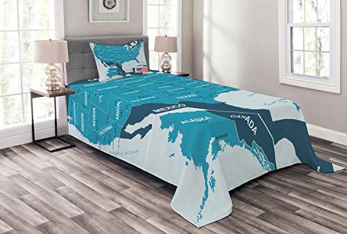 HUNKKY - Colcha de mapa de Estados Unidos, bandera de la vieja gloria con nombres de estado escritos, juego de 2 piezas con funda de almohada, tamaño individual, color azul bebé