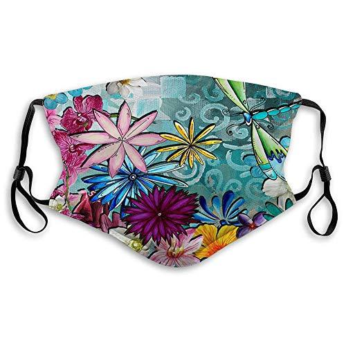 Flowers Dragonfly.webp - Máscara de lobo (lavable, reutilizable, a prueba de polvo, neutra, color morado estrellado, diseño de lobo