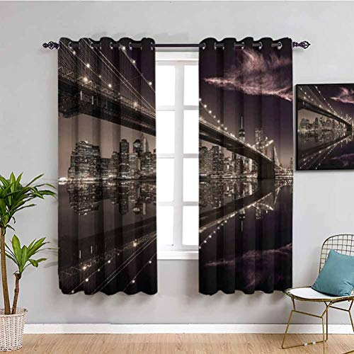 Landscape Soundproof Curtains for Bedroom Brooklyn Bridge Sunset NYC View Skyline Tourist Attraction Modern City Indoor Curtain W84 x L84 Inch Pale Brown Dried Rose