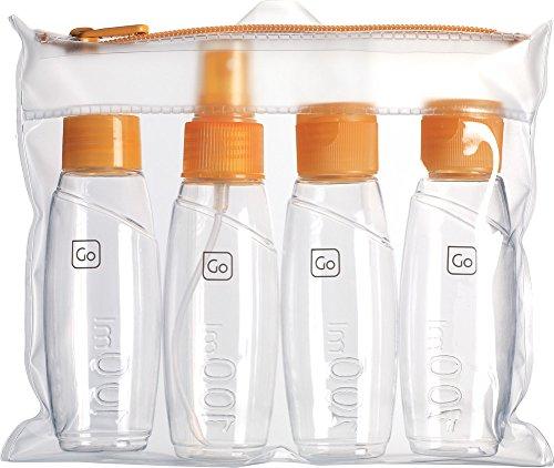 Go Travel Cabin Approved Bottle Set-4 100ml Bottles for Liquids & Gels Including Alcohol Based Products (Ref 658)