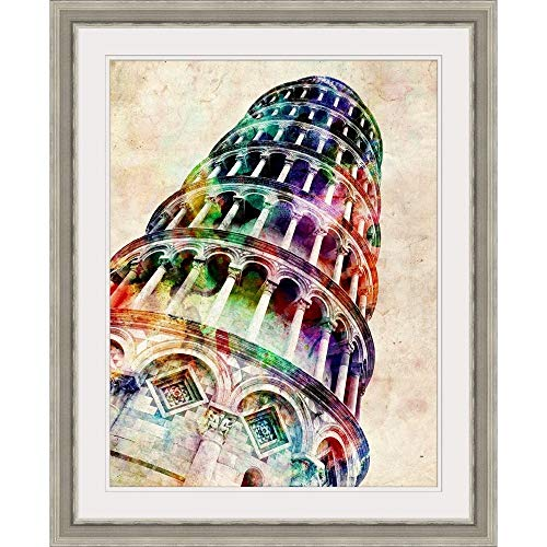 "GREATBIGCANVAS Leaning Tower of Pisa Watercolor Illustration Silver Framed Wall Art Print, 12""x16""x1.25"""
