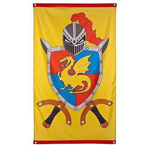 Boland 44008 - Fahne Ritter und Drachen, Größe 150 x 90 cm, Banner, Flagge, Wappen, Ritterrüstung, Dekoration, Geburtstag, Motto Party, Karneval