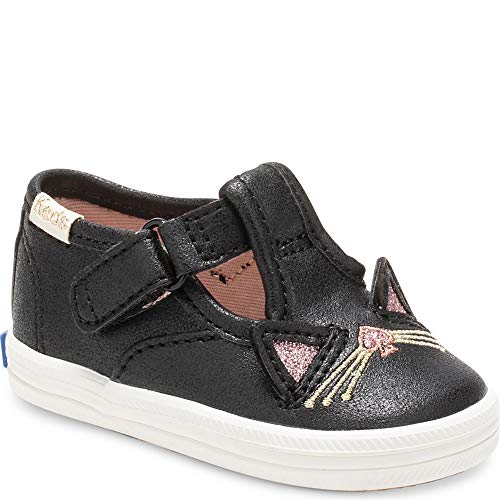 Keds Girls Champion Toe Cat T-Strap x Kate Spade New York (Infant) Casual Sneakers, Black, 1