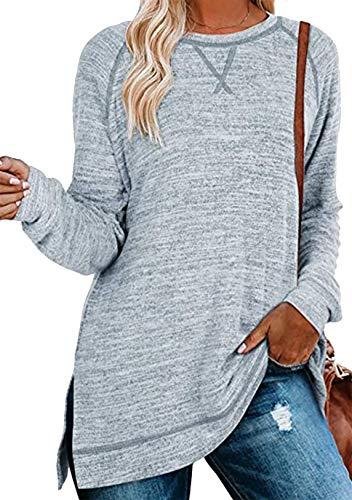 OMZIN Blusa de manga larga y cuello redondo para mujer, estilo túnica, elegante, asimétrico, con costuras decorativas, para otoño y primavera, tallas S-XXL A-hell Blau L