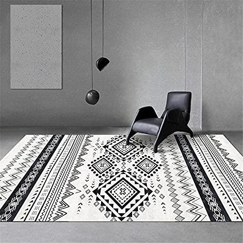 Tapetes Modernos Alfombra de sofá de Sala de Estar Moderna de Estilo geométrico clásico Blanco Negro alfombras a Medida Alfombra Infantil niña 120*200cm