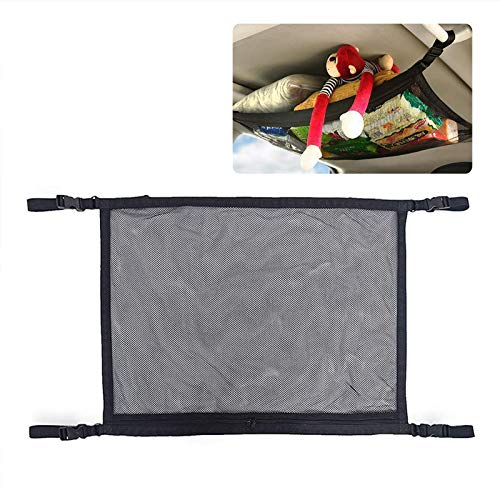 WETDCQ Car Ceiling Cargo Net Pocket Car Ceiling Storage Adjustable Interior Mesh Bag, Long Trip Storage Bag Sundries Storage Pouch
