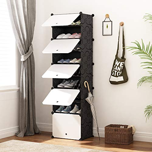 JOISCOPE Portable Shoe Storage Organzier Tower Modular Cabinet for Space Saving Shoe Rack Ideal for Shoes Boots Slippers 1 x 10-Tier