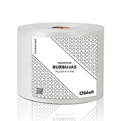Rollo de plástico de burbujas de 50 cm de ancho y 100 metros de longitud. Papel burbuja Ideal para embalaje, mudanzas,...