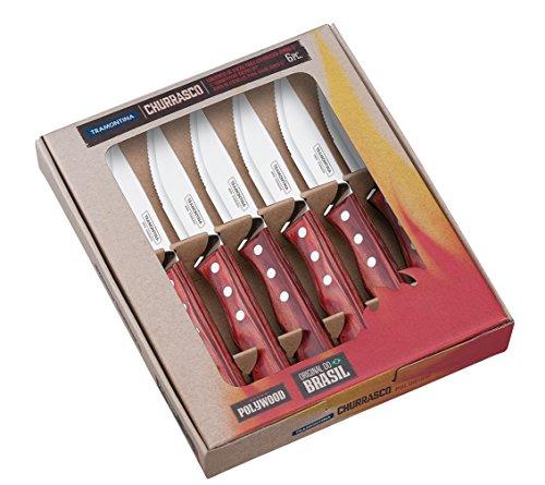 Tramontina 29899-164 Jumbo-Steakmesser-Set, 6-tlg. mit roten Griffen
