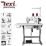 TEXI - Máquina de coser industrial, triple transporte, incluye mesa y estructura)