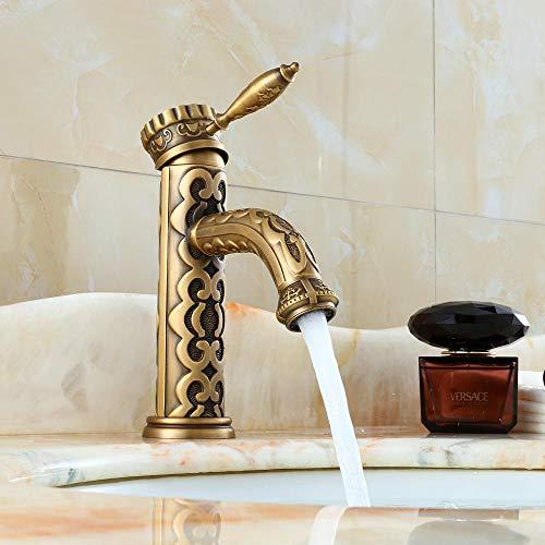 Antike Bronze Waschbecken Superior Luxus Wasserhahn Craved Messing Kran Heiß- und Kaltwasser Mixer Wasserhahn Waschbecken Wasserhähne-Chrom