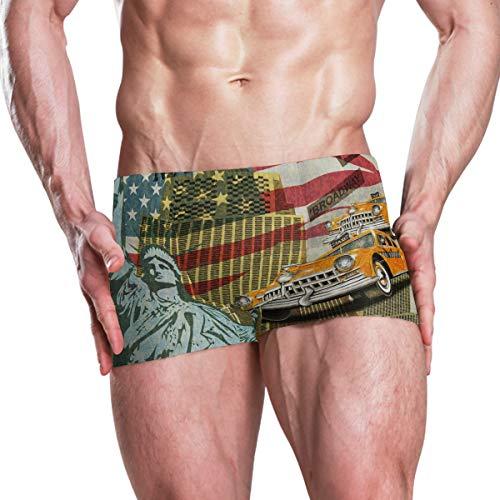 FANTAZIO Herren Badehose, Amerika, Freiheitsstatue, Flagge und Retro-Auto Gr. XL, 1