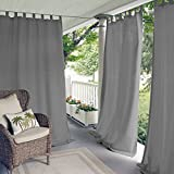 Elrene Home Fashions Indoor/Outdoor Solid UV Protectant Tab Top Single Window Curtain Panel Drape for Patio, Pergola, Porch, Deck, Lanai, and Cabana Matine Gray 52'x84' (1 Panel)