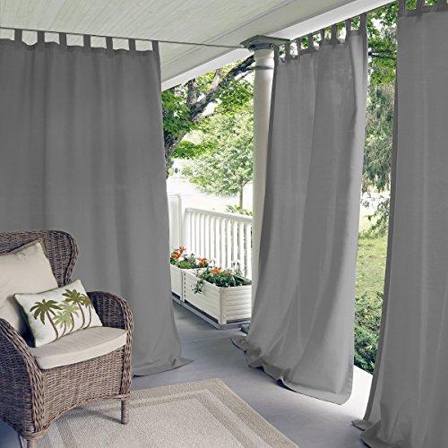 Elrene Home Fashions Indoor/Outdoor Solid UV Protectant Tab Top Single Window Curtain Panel Drape for Patio, Pergola, Porch, Deck, Lanai, and Cabana Matine Gray 52u0022x84u0022 (1 Panel)