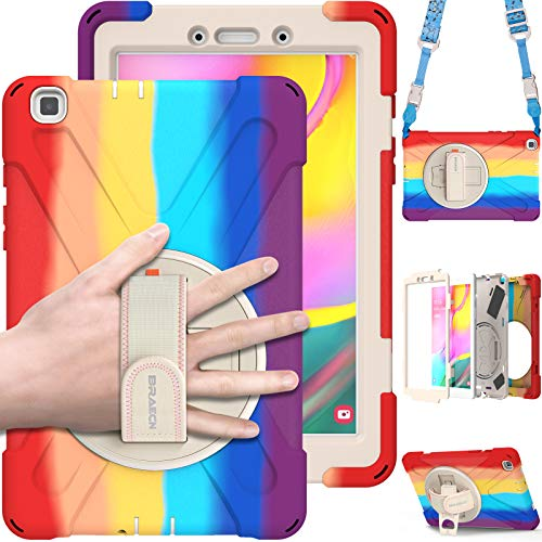 BRAECN Kids Case for Samsung Galaxy Tab A 8.0 2019, Rugged Shockproof Heavy Duty Case with Shoulder Strap, Kickstand, Hand Strap for Galaxy Tab A 8.0 Inch 2019 Model SM-T290/T295/T297- Rainbow