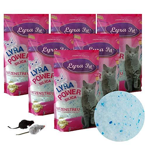 Lyra Pet® 6 x 5 L = 30 L Lyra Power Silikat Katzenstreu Cat kumpfrei +2 Mäuse