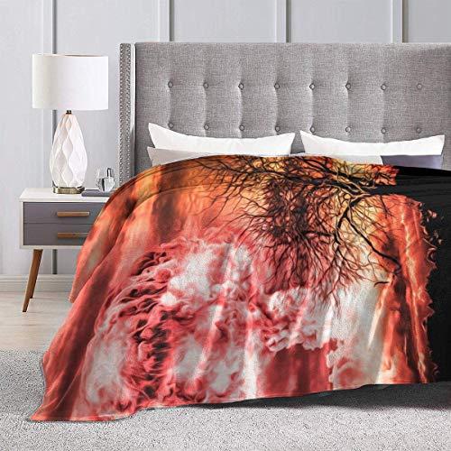 Leyhjai Manta de vellón con Estampado de Fondo de Rayas Manta de Invierno Mantas de Felpa mullidas y cálidas para la Cama Sofá Silla Sala de Estar
