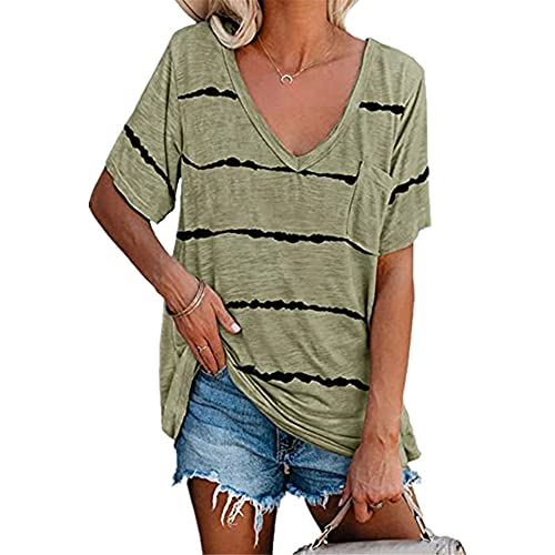 Manga Corta Mujer T-Shirts Elegant Cómoda Verano Cuello V Mujer Tops Exquisito Rayas Tie Dye Bolsillo Diseño Ocio Diario Transpirable All-Match Mujer Blusa D-Green XL