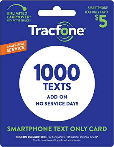 TracFone Text Only Plan - 1,000 Add-On Text Only - No Minutes/Data Included (Physical Card Shipped)