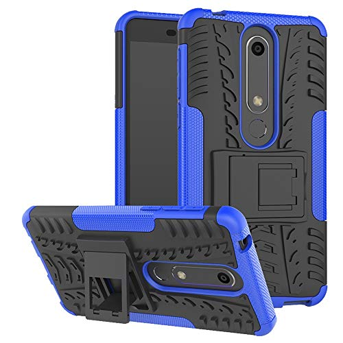 Phone Case for Nokia 6.1   Nokia 6 2018 with Stand Kickstand Hard Rugged Heavy Duty Hybrid Protective Cell Accessories Nokia6.1 TA-1045 Cases Women Men Blue