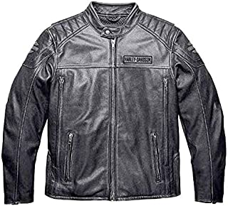 HARLEY-DAVIDSON Mens Midway Distressed with Reflective Piping Charcoal Leather Jacket (Large)