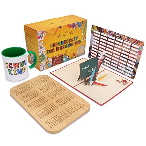 """MiaMio - Geschenkset zur Einschulung inkl. Tasse """"Schulkind"""" + 1 x 1 Frühstücksbrett + Pop up Grußkarte + Stundenplan (Grün)"""