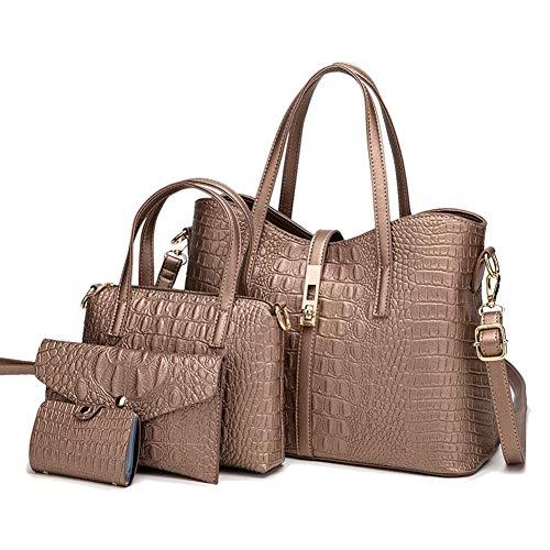 Cobeky Juego de 4 bolsas para mujer de 4 piezas, para madre-en-ley, bolso de mano de cuatro piezas, color negro, color Beige, talla Talla Unica