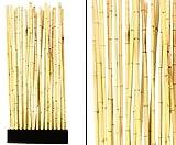 Bambus Raumteiler 'Paris' mit ca. 90x12x205cm, incl. Sockel und 27 Rohre 2,8 bis 3,5cm - Sichtschutzzaun Sichtschutzzäune Blickschutz aus Bambus Raumabtrennung Paravent