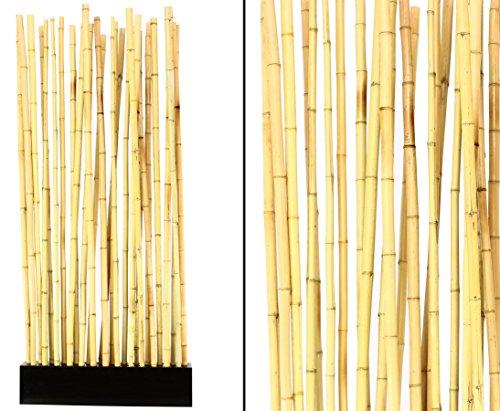 """Bambus Raumteiler \""""Paris\"""" mit ca. 90x12x205cm, incl. Sockel und 27 Rohre 2,8 bis 3,5cm - Sichtschutzzaun Sichtschutzzäune Blickschutz aus Bambus Raumabtrennung Paravent"""