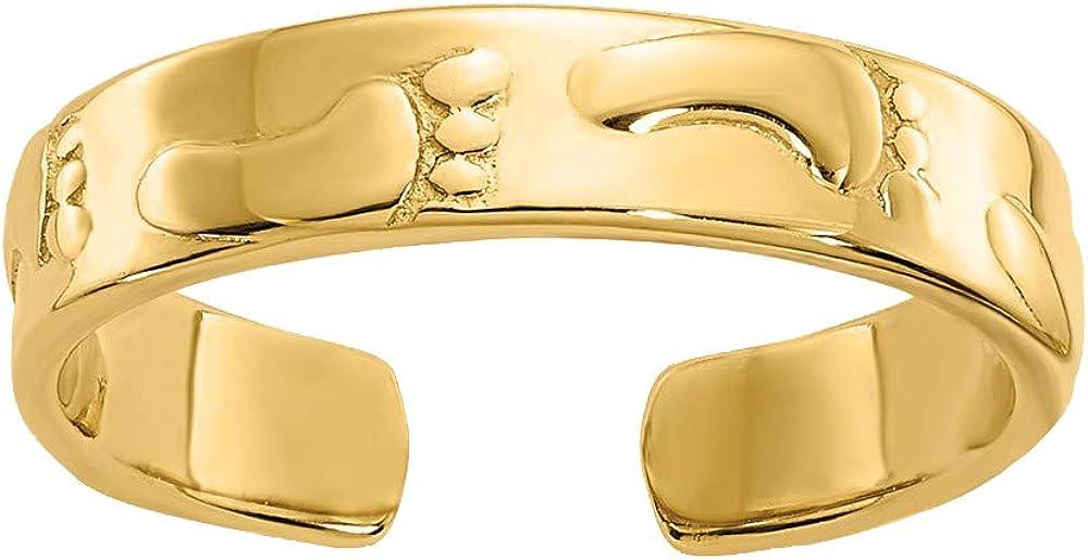 Nina's Jewelry Box 14k Yellow Gold Footprints Toe Ring