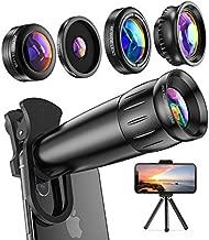 LIERONT Phone Camera Lens for iPhone Samsung Huawei, 25X Telephoto Lens, 4K HD 0.65X Wide Angle Lens & 25X Macro Lens(Screwed Together), 210° Fisheye Lens, Kaleidoscope Lens (Not Pro Camera)