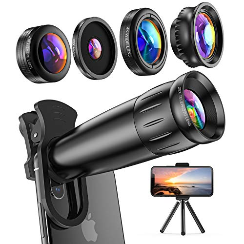LIERONT Phone Camera Lens Kit 5 in 1: 25X Telephoto Lens, 210° Fisheye Lens, 0.62X Wide Angle Lens & 25X Macro Lens, Compatible with iPhone 11 10 8 7 6 6s Plus X XS XR Samsung