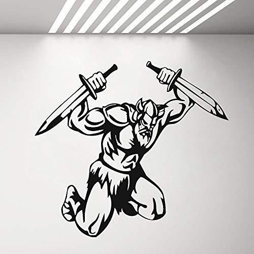 jiushivr Ocean Wandaufkleber Schlafzimmer Wikinger Barbar Ancient Warrior Boy Garage WallNordic SchlafzimmerdekorationVinylPVCx cm 46x42cm