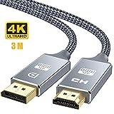 DisplayPort HDMI 変換 ケーブル 3m DP to HDMIケーブル 4K ディスプレイポート-HDMI 変換 映像・音声同期出力 ナイロン編み保護