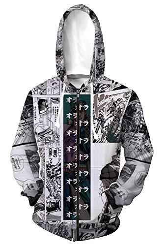 Fengstore JoJo Bizarre Adventure Hoodie Kujo Jotaro 3D Printed Hooded Sweater Jacket Zipper Long Sleeve Coat (XX-Large, Kujo Jotaro-White)