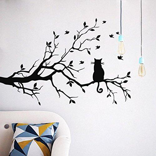 枝の上の猫 ウォールステッカー 壁貼り 無毒 環境保護 防水壁紙シール 壁、ガラスドアドア、窓ガラス...