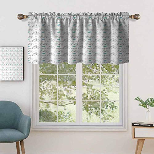 Blackout Short Curtains with Rod Pocket Diverse Size Repeating Nostalgic Bikes with Heart Leaf, Set of 1, 54'x18' Small Half Window Valances for Kitchen