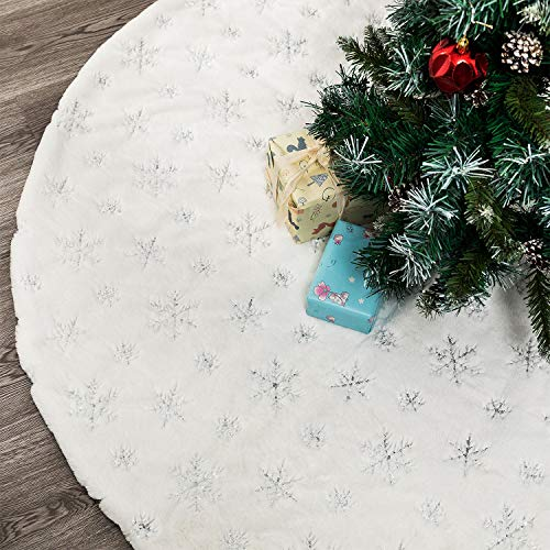 Kederwa 48 Inches Christmas Tree Skirt, Plush Luxury Faux Fur Xmas Tree Mat, Snowy Sequin Pattern Christmas Skirt for Xmas Ornaments Christmas Tree Decorations (White&Sliver)
