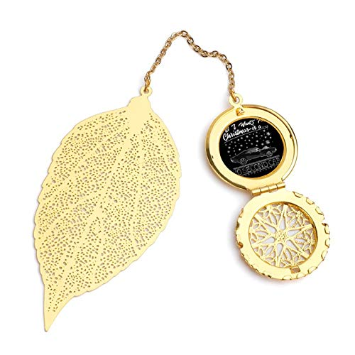 All I Want for Christmas is A Ten Second Car Vintage and Beautiful Leaf Bookmarks, Metal Leaf and Exquisite Pattern Pendants