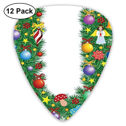 Gitaarpicks, 12 stuks plectrum (0,46 mm - 0,96 mm), Candy Canes Mushrooms Angel Figuur On Xmas Tree Seasonal Compositie en letter U, voor uw gitaar of ukelele