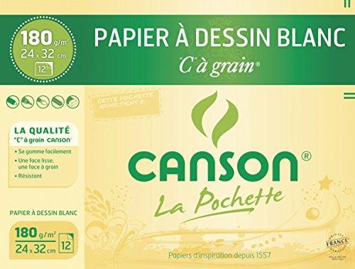 "CANSON Zeichenpapier /""C/"" à Grain DIN A4 125 g//qm 12 Blatt"