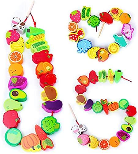 Juguete de Cuentas de Hilo de Madera, Pulchram Juguete de Roscado Montessori Animales Frutas Verduras,Juguetes Apilables para Niños, Habilidades Motoras Preescolares Juguetes Educativos (42 PCS)