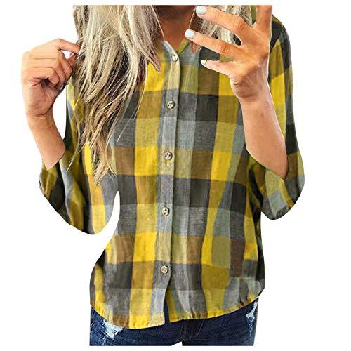 Camicia Top Donna Moda Casual Camicia a Quadri a Maniche Lunghe Giacca Slim (M,4Giallo)