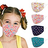 Woplagyreat Kids Face Mask with Adjustable Ear Loops, Cute Strawberry Fabric Washable Reusable Cover, Designer Breathable Madks Facemask for Girl Boy Children Gift
